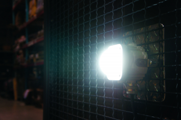 The Cube-Light with a flush mount along an industrial accessway