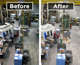 An image of Phoenix's warehouse before and after the installation of the Ascend series